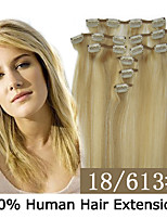 20inch 8pcs /set 100g Clip-in Hair Remy Human Hair Extensions 19 Colors for Women Beauty