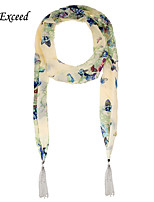 D Exceed Boho Chiffon Multifuction With Tassles Scarf Printing Long Necklace Scarves Jewelry
