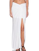 Women's Ruched Slit Maxi Skirt