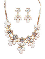 European Style Fashion Wild Sweet Rhinestone Flower Necklace Earrings Set