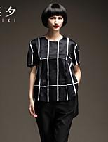 Women's Patchwork Black T-shirt , Round Neck Short Sleeve Split