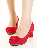 Women's Shoes Glitter Chunky Heel Heels/Round Toe Pumps/Heels Wedding Red