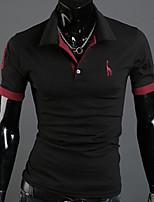 Tee-Shirt Décontracté Pour des hommes Manches Courtes Couleur plaine Mélange de Coton