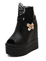 Women's Shoes Wedge Heel Peep Toe Pumps/Heels Casual Black