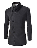 Men's Casual Pure Long Sleeve Long Coat (Tweed)