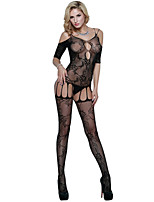 Women's Black Sexy Long Sleeve Fishnet Bodystockings Lingerie