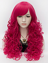 55cm Medium Long Curly Sexy Anime Cosplay Party Women Lady Harajuku Wig Rose Red