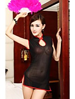 Women's Transparent Lace Satin Sexy Chinese Robes Nightwear