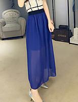 Women's Elastic High Waist Summer Solid Color Chiffon Skirts