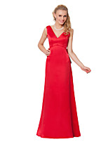 Floor-length Satin Chiffon Bridesmaid Dress -Sheath/Column V-neck