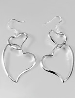 S925 Silver Drop Earring Design for Women Two Heart Drop Design Earring