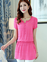 Women's Lace Blue/Pink Blouse , Stand Short Sleeve Lace