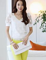 Women's Lace White Blouse , V Neck Short Sleeve Beaded/Lace