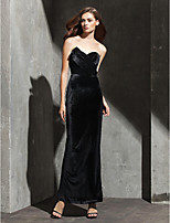 Formal Evening Dress - Black Sheath/Column Strapless/Sweetheart Ankle-length Velvet