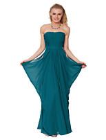 Formeller Abend Kleid - Grün Chiffon - Etui-Linie - bodenlang - trägerloser Ausschnitt