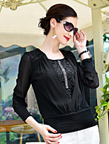 Women's Solid/Patchwork White/Black/Purple Blouse , Round Neck Long Sleeve Lace/Ruched