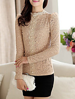 Women's Stand Blouse , Lace Long Sleeve