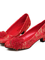Women's Shoes Synthetic Stiletto Heel Round Toe Pumps Wedding Red