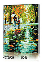 DIY Digital Oil Painting With Solid Wooden Frame Family Fun Painting All By Myself      Feeling Lead Rain Road5046