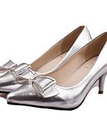 Women's Shoes Faux Leather Stiletto Heel Heels Pumps/Heels Dress/Casual Black/White/Silver