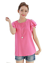 Women's Solid Pink/White/Green Blouse , Round Neck Short Sleeve Mesh