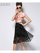 Women's Beach/Casual/Cute/Party Micro-elastic Medium Knee-length Skirts (Polyester)