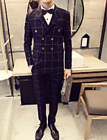 Men's Long Sleeve Regular Set , Cotton/Polyester Plaids & Checks