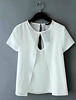 Women's Solid White/Black Blouse , Round Neck Short Sleeve