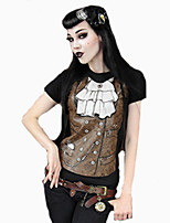 Damen T-Shirt Elasthan Kurzarm Rundhalsausschnitt