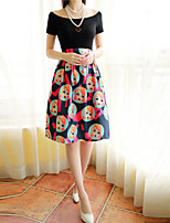 Women's Character Black Skirts , Vintage/Party Above Knee