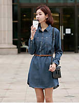 Women's Blue Denim Dress , Casual/Party Long Sleeve