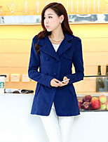 Women's Solid Blue/Pink/Green Coat , Casual Long Sleeve Cotton/Wool Blends