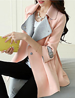 Women's Pink/Yellow Trench Coat , Casual/Party ¾ Sleeve Others