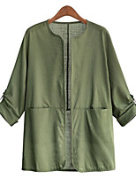 Women's Solid White/Black/Green Casual Round Neck Long Sleeve Pocket