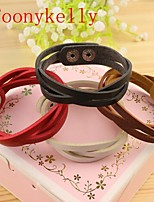 Toonykelly® Fashionable Color Leather Button Belt Buckles Bracelet(1PC)
