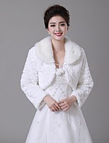Wedding  Wraps Boleros Long Sleeve Faux Fur Ivory