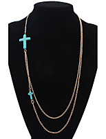 Women's European Style Fashion Cross Alloy Resin Necklace