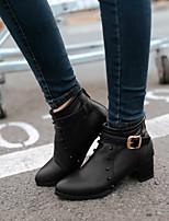 Zapatos de mujer - Tacón Kitten - Botas Anfibias / Puntiagudos - Botas - Oficina y Trabajo / Vestido - Semicuero - Negro / Blanco
