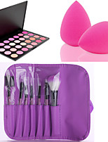 HOT SALE 7Pcs/set Purple Soft Kit Makeup Brush Tool+28 Colors Contour Face Powder Blush Makeup Palette + Powder Puff
