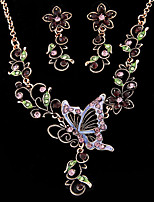 Women's Butterfly in Love Exquisite Fashion Short Necklace Earring Sets Wedding Jewelry Set