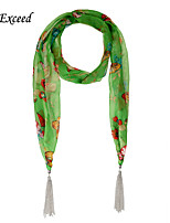 D Exceed  Women Summer Style Chiffon Scarves with Silver Plated Tassel Green Butterfly Print Cheap Scarfs