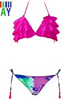ZAY Women's Sweet Sexy Color Block Print Bikinis Set