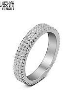 AS925 Sterling Silver Japan and South Korea Three Row Diamond Ring Party Essential Fashion J033