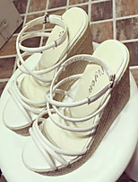 Women's Shoes Faux Leather Wedge Heel Wedges Sandals Dress/Casual White