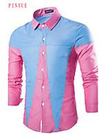 Camisa De los hombres Casual/Trabajo/Deporte Un Color - Algodón - Manga Larga