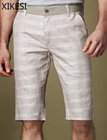 Men's Casual/Work Striped Shorts Pants (Linen/Viscose) XKS7C10