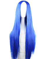 New Anime Cosplay Carve Long Straight Blue Hair Wig 80CM