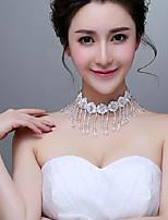 Korean Style Lace Flowers Rhinestones/Titanium Wedding/Party Necklace with Imitation Pearls
