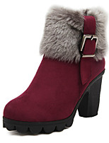 Women's Shoes  Chunky Heel Round Toe Boots Casual Black/Blue/Burgundy