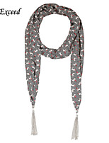 D Exceed  Fashion Cartoon Patterns Scarf for Women Colorful Chiffon Scarf Jewellry with Tassles